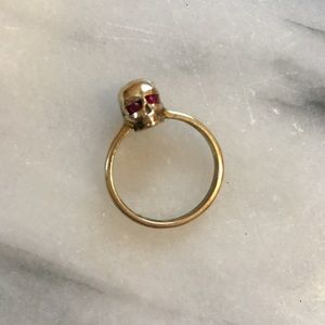 Jewelry - Brass & Red Crystal Skull Ring